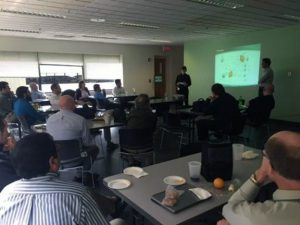 3rd floor lunch room at 2420 Mosside Blvd during Chris Jenko and Sundar Venkatesh engineering week discussion about Mobile Application Development