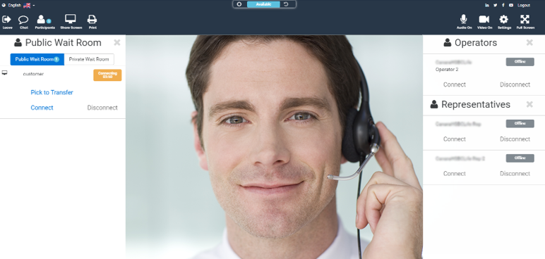 Video Call Center: Example Agent View
